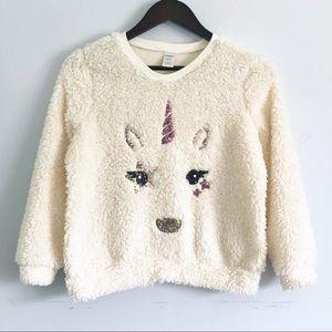 Faux Sherpa Girls Unicorn Sweater